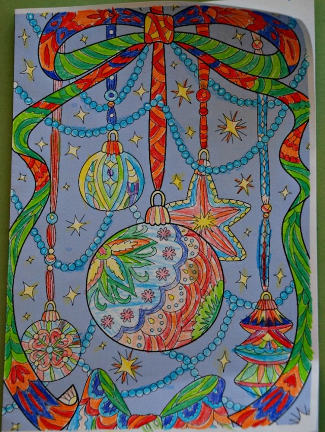 Colour Pop Christmas Decoration Colouring Card from Activity Village