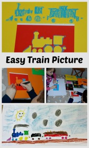 Easy art for children using train stencils and oil pastels