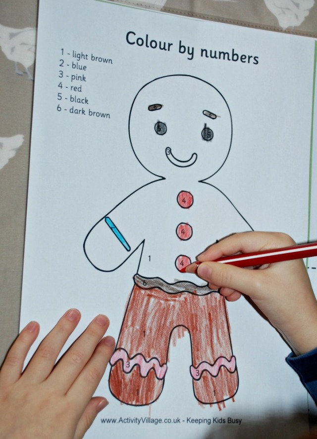 Gingerbread Man Activities - colour by number free to download by Activity Village