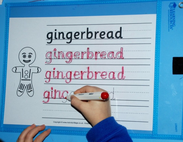 Gingerbread Man free to download handwriting page from Activity Village
