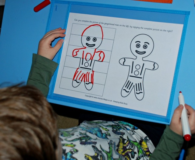 Complete the Gingerbread Man page from Activity Village