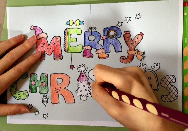Merry Christmas colour pop card from activity Village