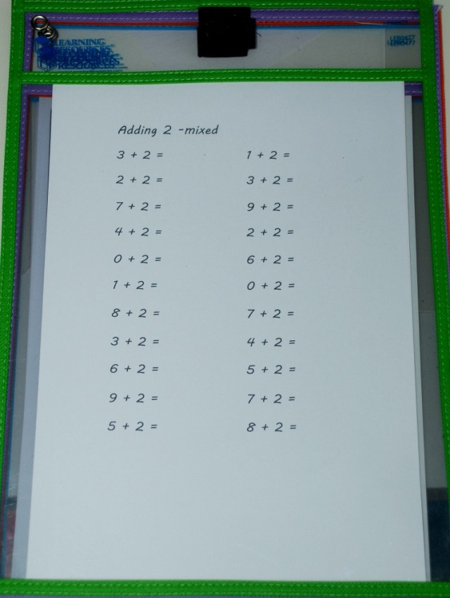 addition practice page inside a write and wipe pocket ready to use