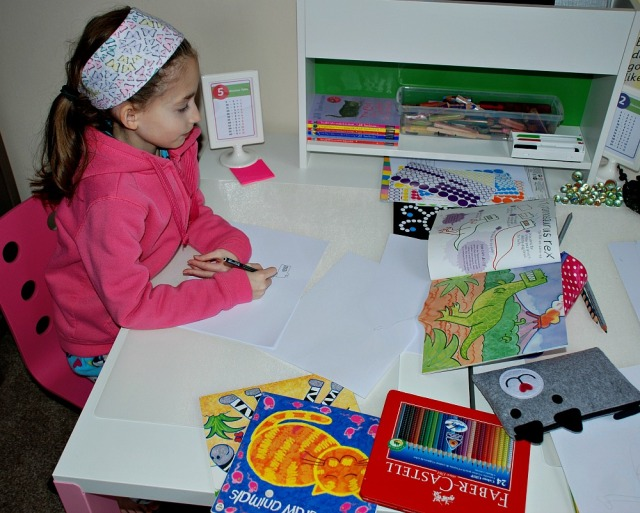 Kids desk from IKEA Pahl range great for home learning activities