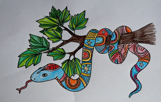 Mindfulness snake colouring page part of the currently FREE to download Jungle Mindfulness pack from Twinkl