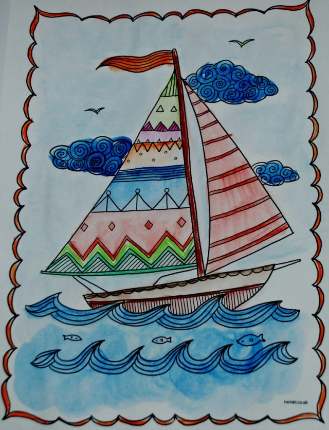 Twinkl mindfulness sailing boat picture part of their transport mindfulness colouring pack