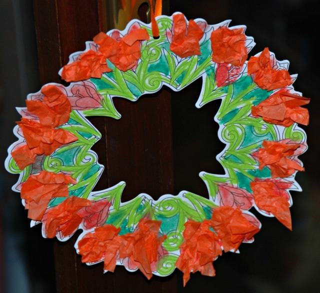 Baker Ross colouring flower wreath with some tissue paper added