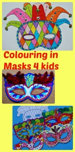Colouring in Mardi Gras Masks for kids