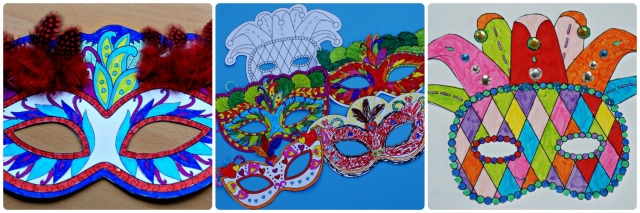 Kids Mardi Gras colouring masks from Activity Village