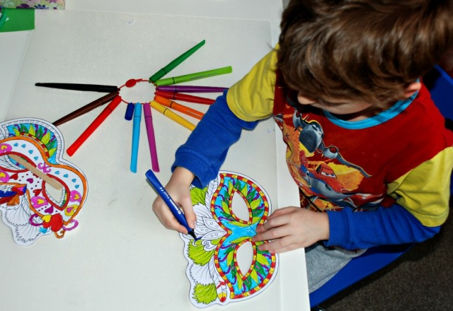 Mardi Gras masks from Activity Village being coloured in using STABILO Cappi Pens