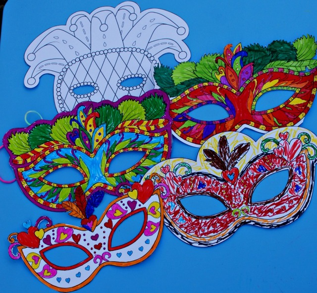 Mardi Gras colouring Masks from Activity Village
