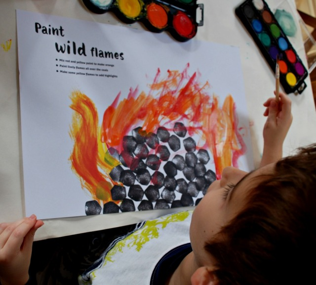 Painting-in Books. Painting wild flames using a mix of colours and wavy brushstrokes