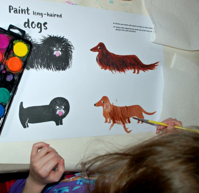 Painting-in Book. The long-haired dogs page
