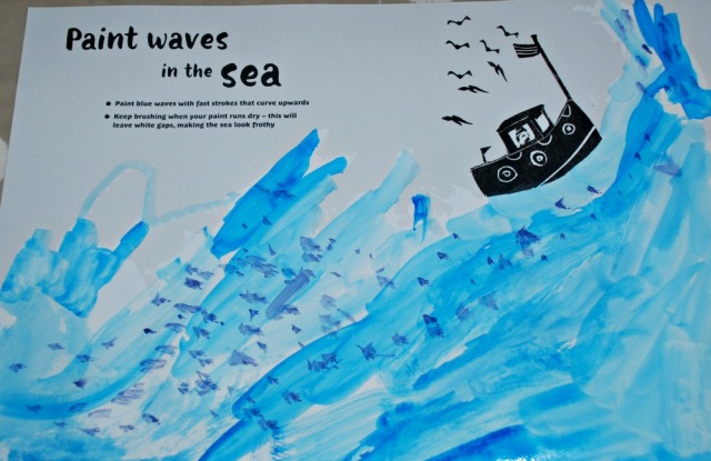 Painting-in Books. waves with some kelp added