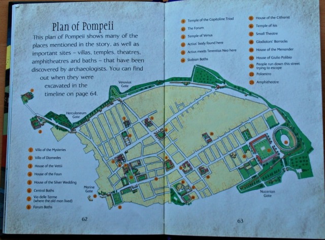 Usborne Pompeii young reader book endes with a map of the ruins and a timeline