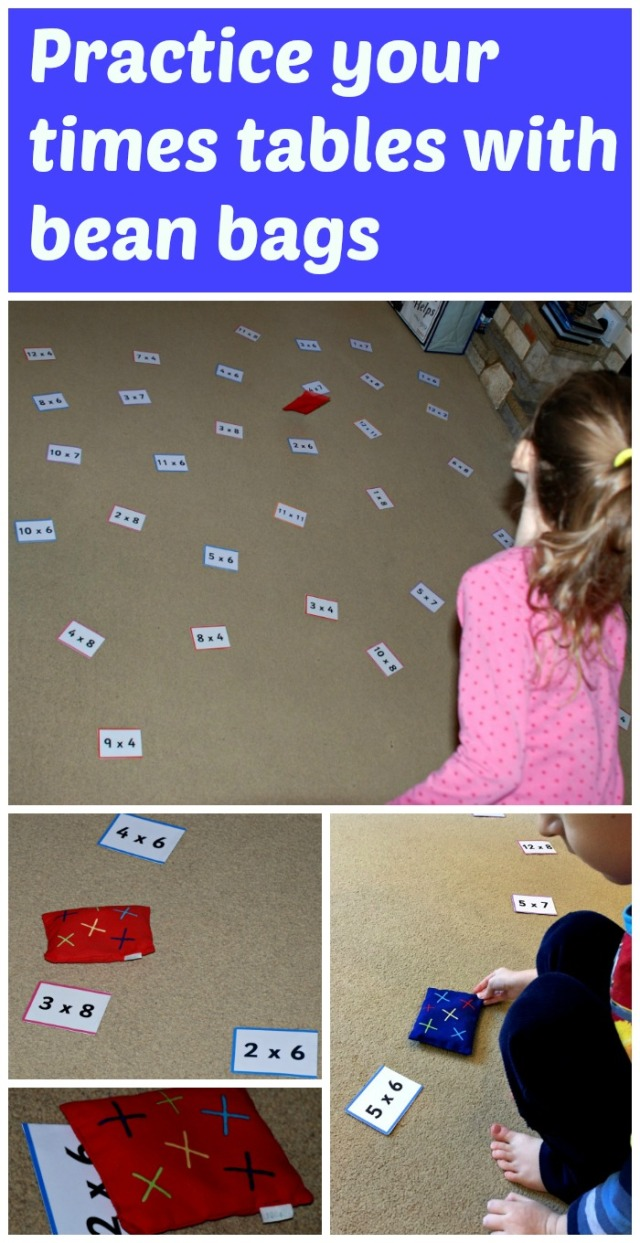 Practice your times table with some bean bags and the folding cards from Twinkl