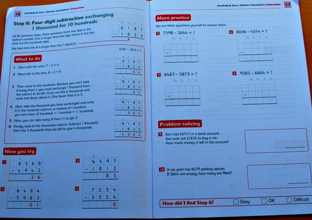Key Stage 2 Written Calculation subtraction book from Schofield&Sims