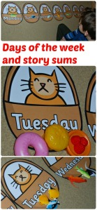 Story sums using Days of the week baskets, fish counters and toy food. Great Lighthouse keeper activity. Free to download from Twinkl