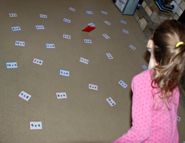 Throwing their bean bags onto a sum and then answering the sum it lands on