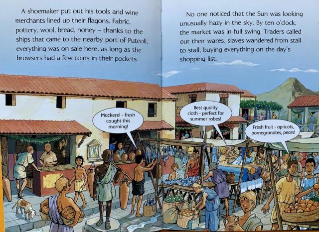 Usborne Young Reader Pompeii shows a Roman market
