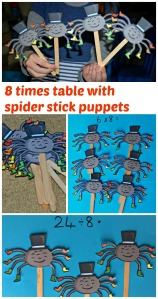 8 times table and divide by 8 using cute spider stick puppets from Twinkl