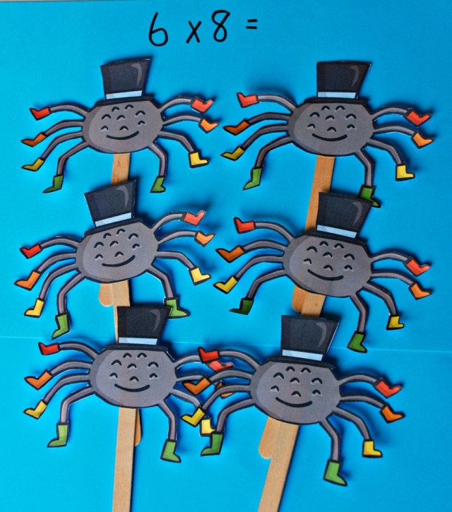 8 times table exaplained using spider stick puppets made using Twinkl images