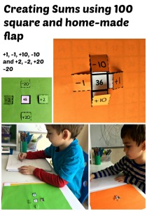 Creating sums using a 100 square and a home-made flap