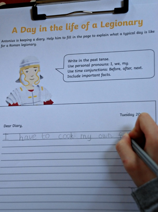 Writing a Diary entry after watching the Roman soldier animated clip from Twinkl