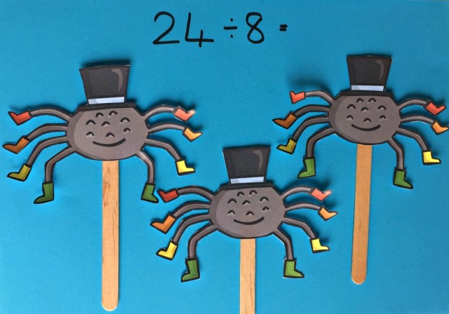 Understanding and explaining divided by 8 using spider stick puppets made using images from Twinkl