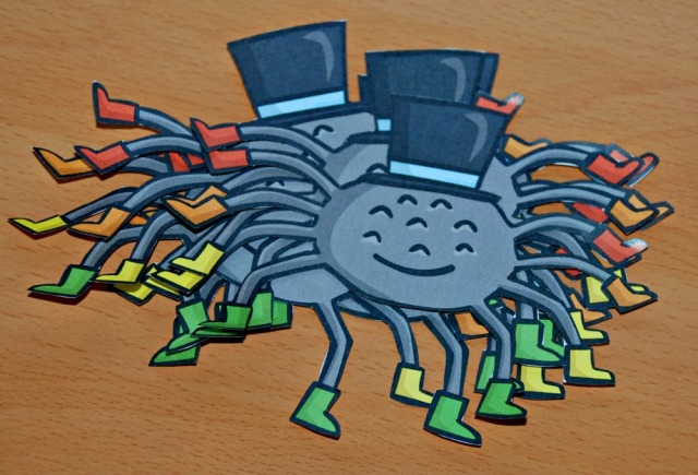 Spiders from Twinkl cut-out for 8 times table practice