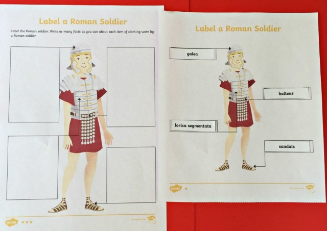 Label a Roman soldier activity created by Twinkl to support their Roman soldier animated clip