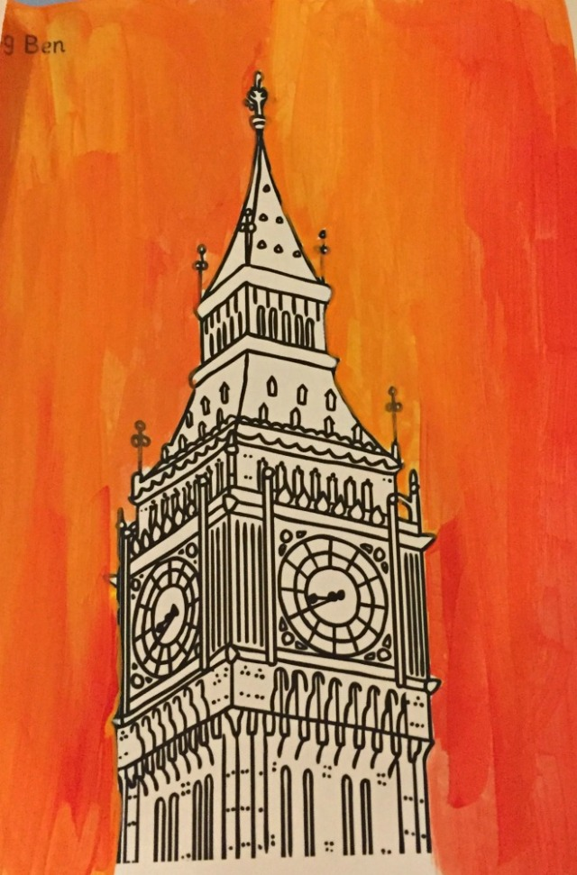 London Landmark art activity for children Big Ben painting using colouring pages from Twinkl