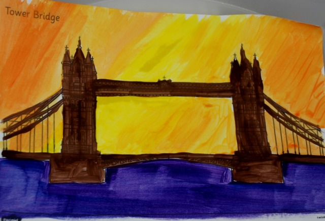 London Landmark art activity idea where children focus on colourful backgrounds