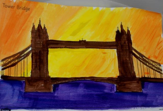 London Landmark art activity idea where children focus on colourful backgrounds