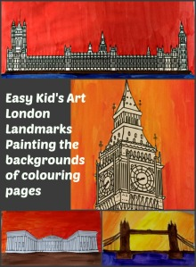 London Landmark Art activity for young children using colouring pages from Twinkl