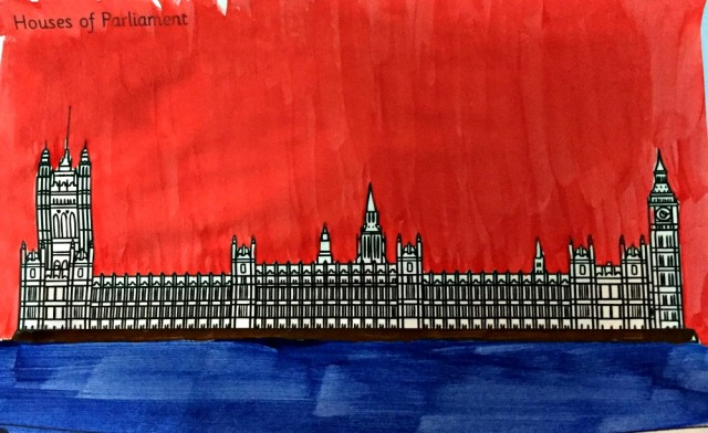 Houses of Parliament painting activity for young children using the london colouring pages from Twinkl