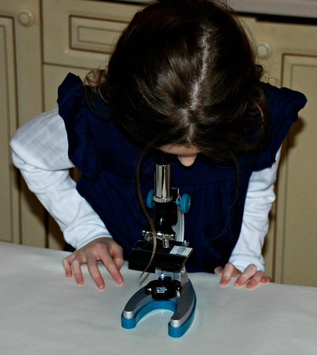 MicroPro Microscope from Learning Resources being used at home