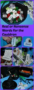 Phonic Activity for kids. Decide which word is real and belongs in the cauldron and which words are nonsense