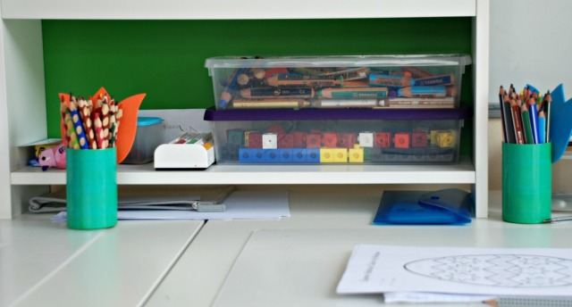 Snap Cubes in a storage container stored on the kids desks for easy access