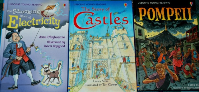 Usborne Reading Series the Shocking story of Electricity, The story of Castles and Pompeii