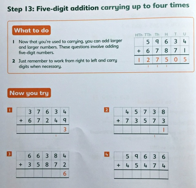 Written Calculation addition book by Schofield &Sims includes 5-digit addition