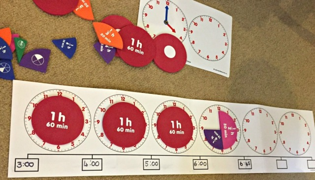 Learning Resources About Time set contains a time number line and fraction pieces which help the children understand the concept of elapsed time
