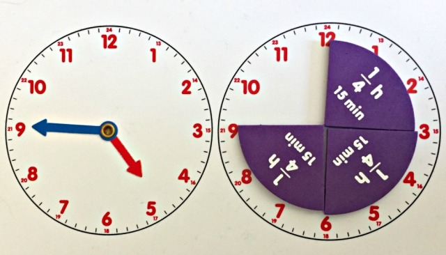 Learning resources About Time set using the actvity card with the moving clock hands and the faction pieces to represent time