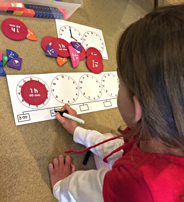 Learning Resources About Time set helps the kids understand the concept of elapsed time
