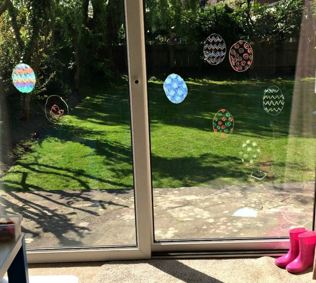 Easter Eggs traced onto our sliding doors