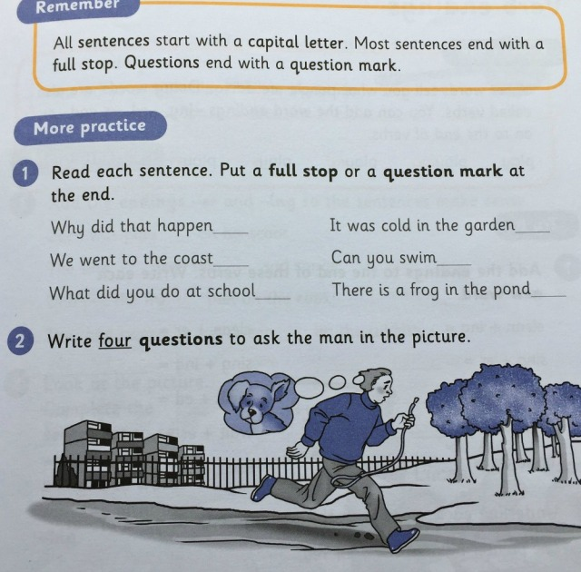 Grammar 1 Pupil book by Schofield & Sims introduces questions
