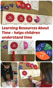Learning Resources About Time set helps children understand how to tell time and what is elapsed time