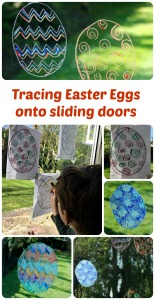 Tracing Easter eggs onto sliding doors using Twinkl Easter Egg Templates and STABILO 3-in-1 pencils
