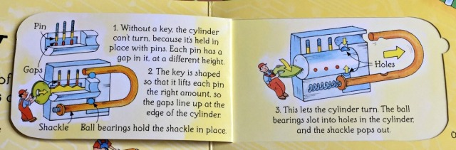 Usborne See Inside How THings Work. A padlock featured on the Everday inventions page