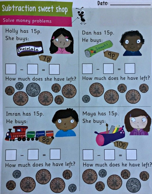 Busy Ant Activity book 1B one of the money problem solving pages